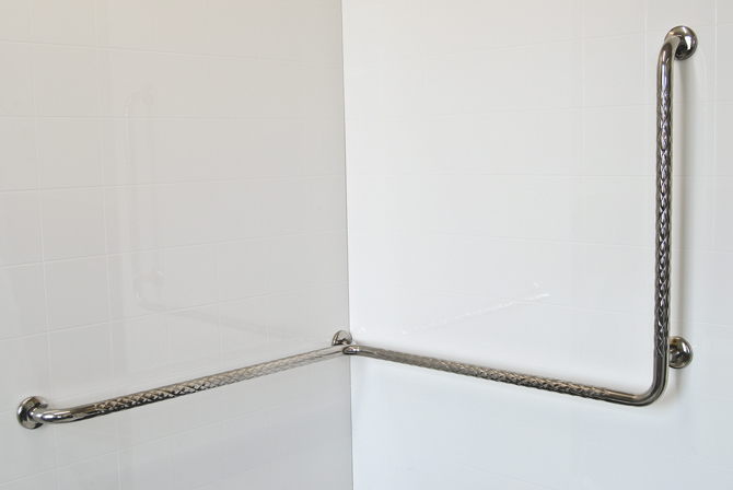 Stainless Steel Corner Shower Safety Rail Vertical